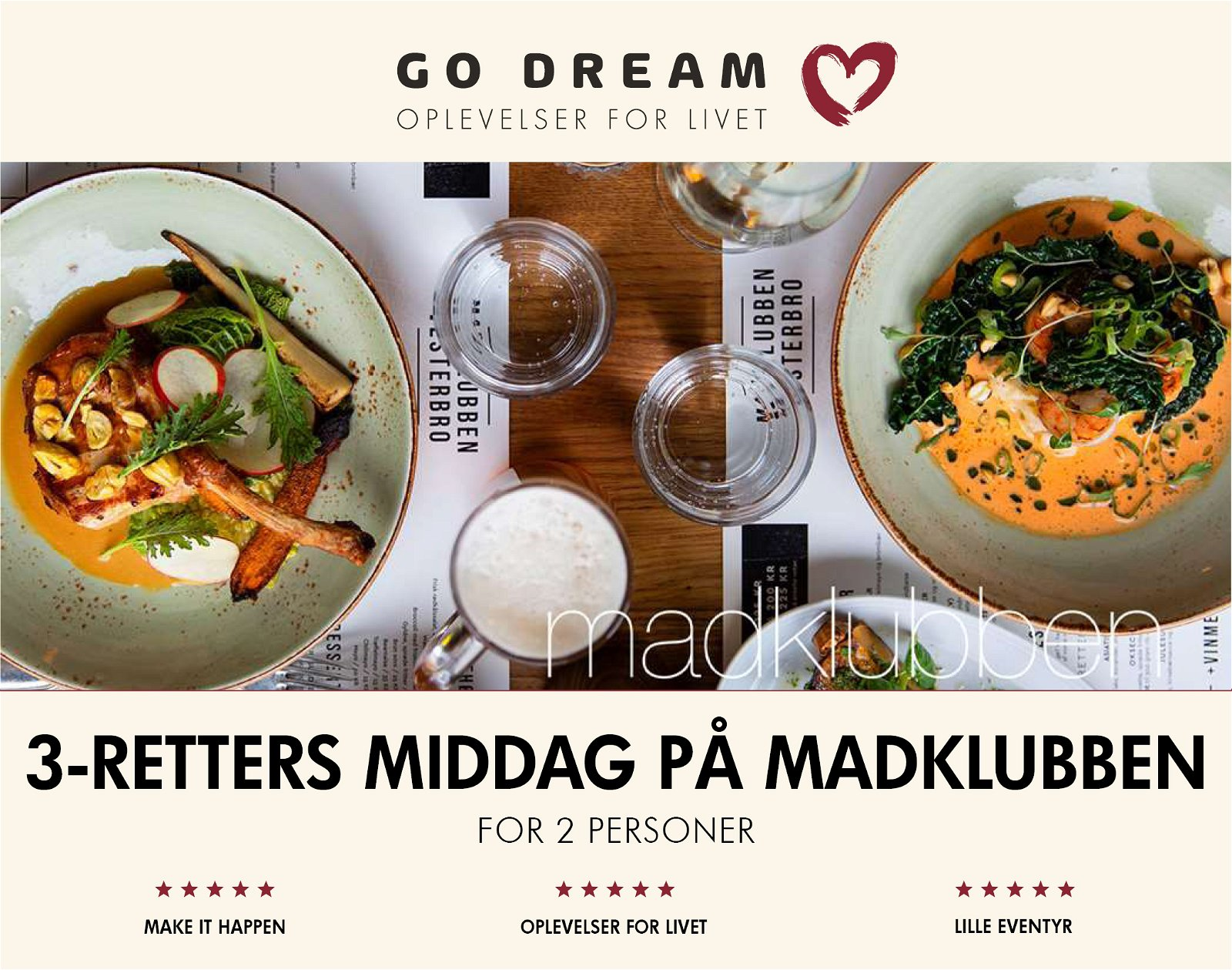 Go Dream 3-retters middag på Madklubben
