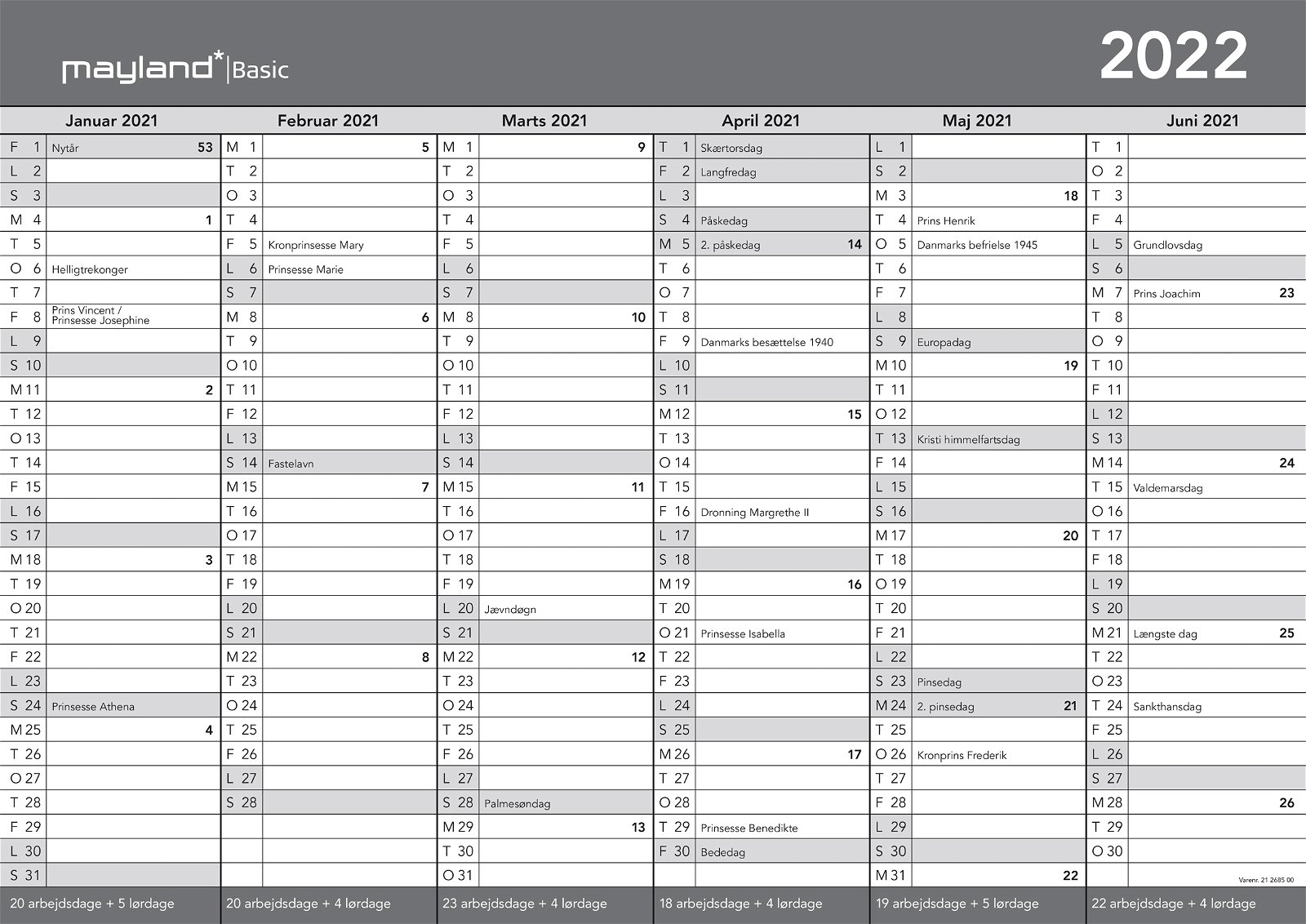 Mayland Basic kontorkalender 2022