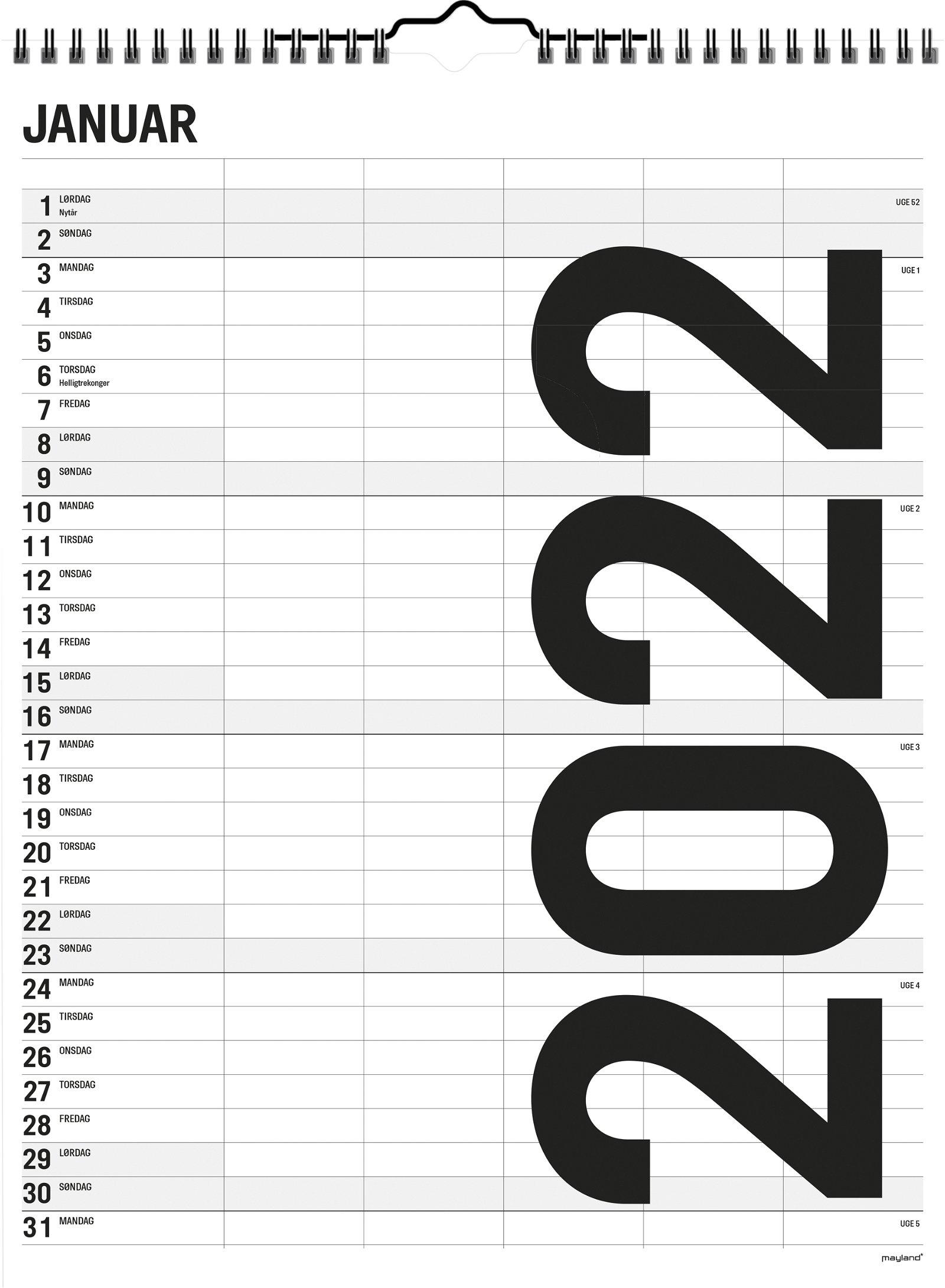 Mayland Familiekalender Black  and White 5 kolonner 2022
