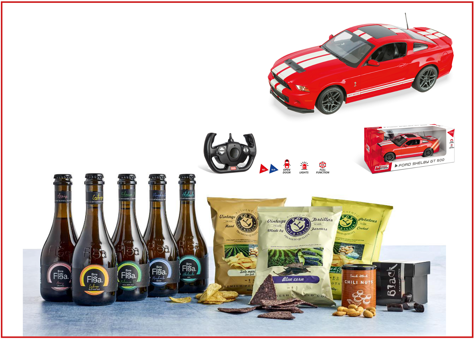 Ford Shelby Fjernstyret racerbil + ølpose