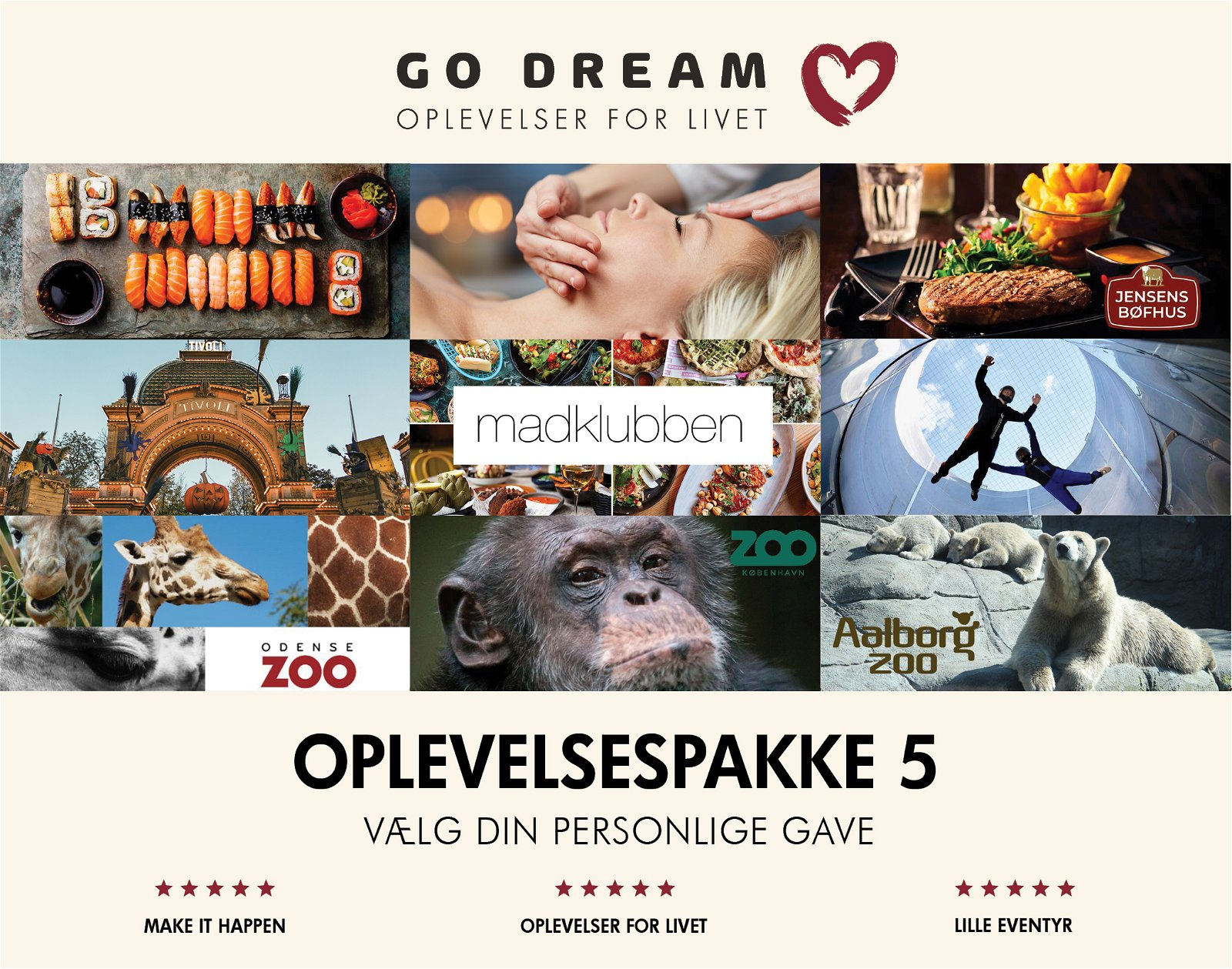 Go Dream Oplevelsespakke 5 kr. 500,-