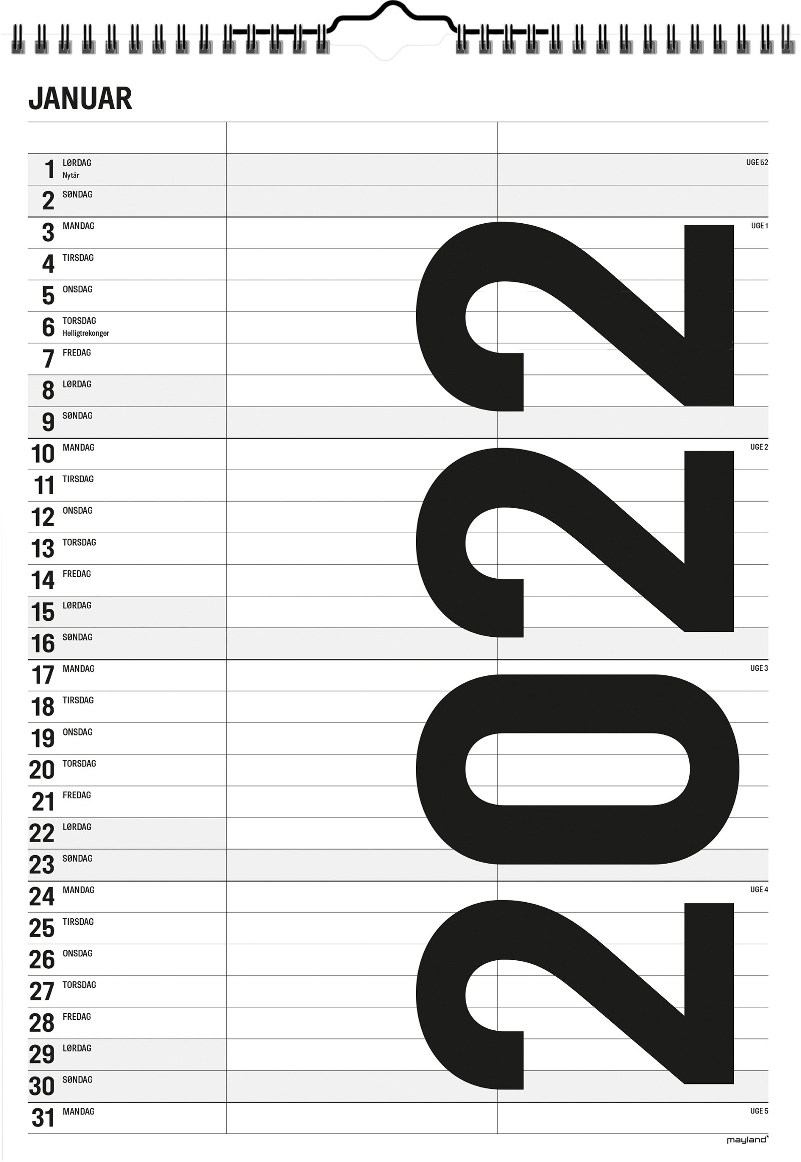 Mayland Familiekalender Black  and White 2 kolonner 2022