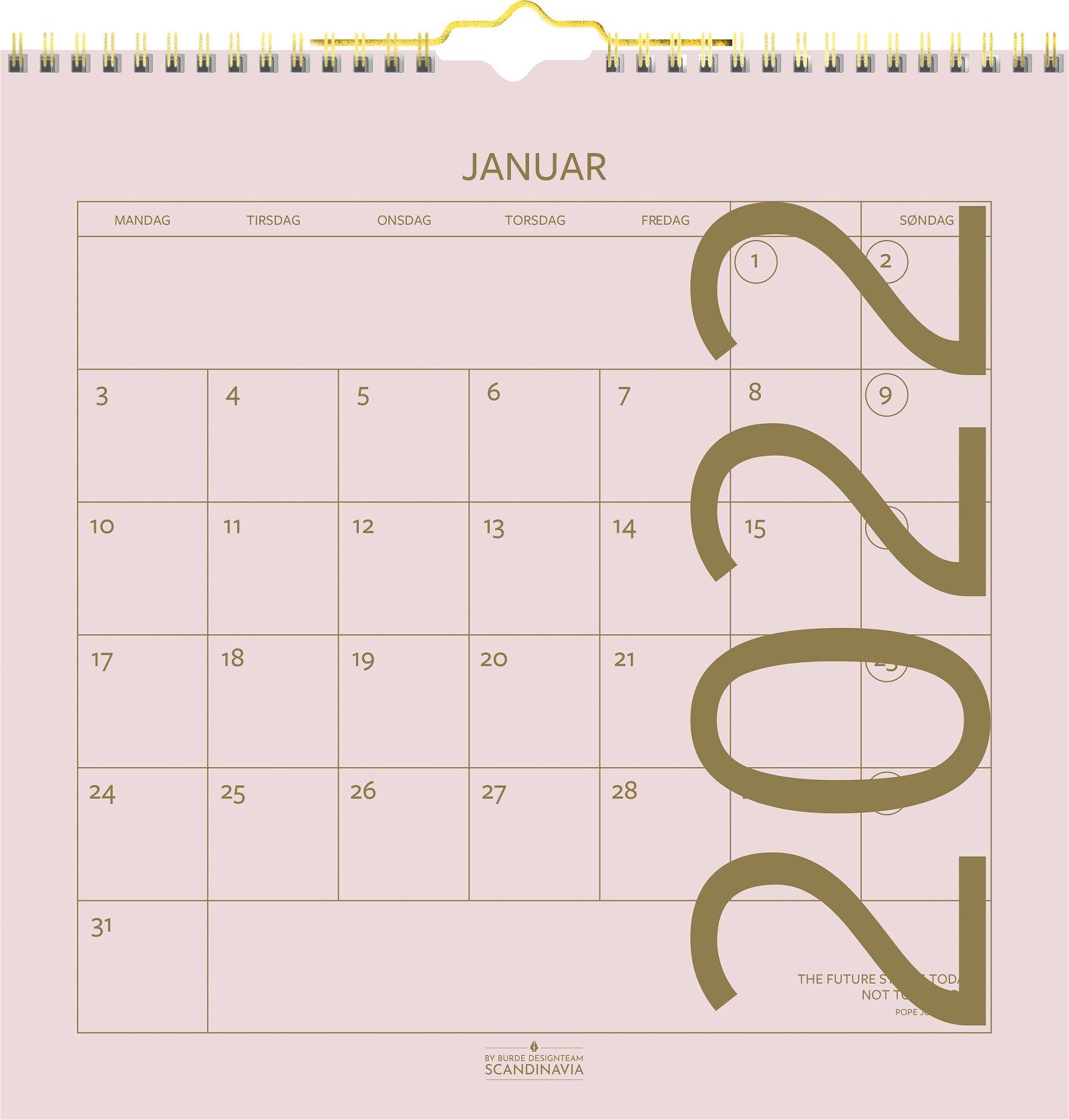 Burde Vægkalender Color 2022