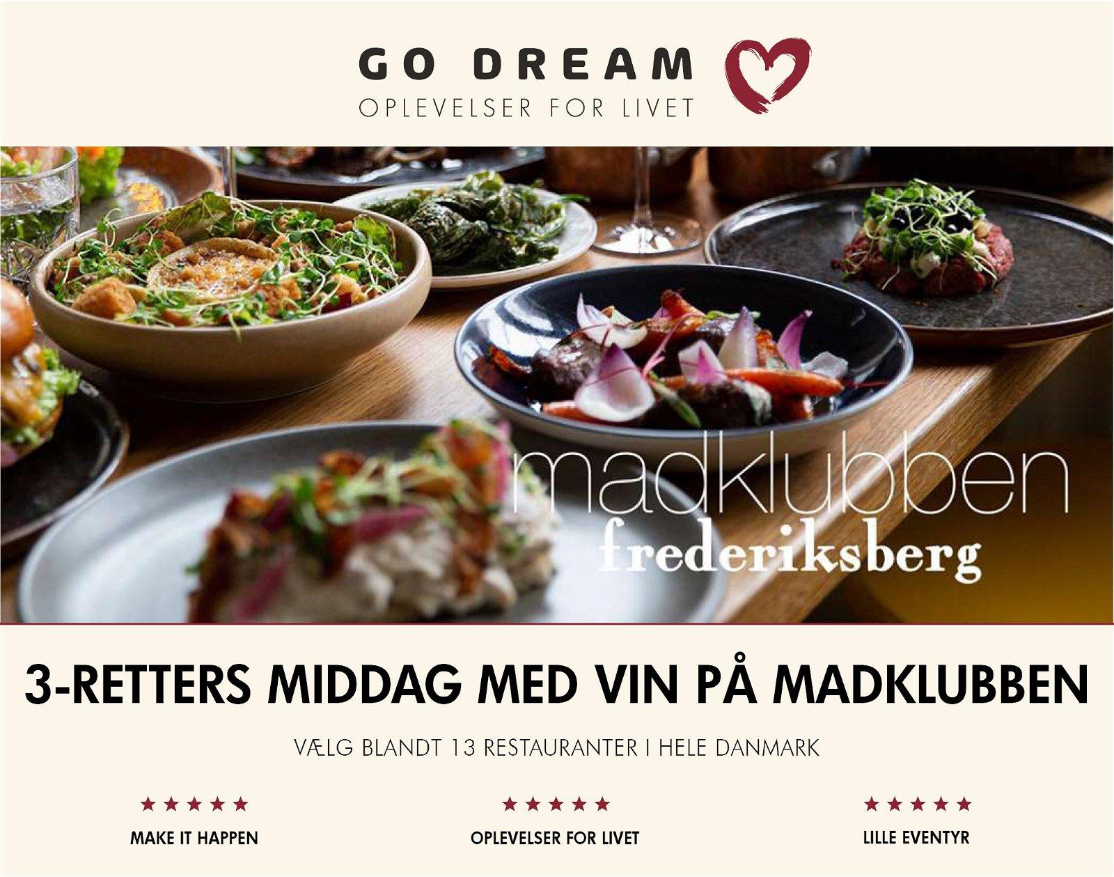 Go Dream 3-retters middag med vin på Madklubben