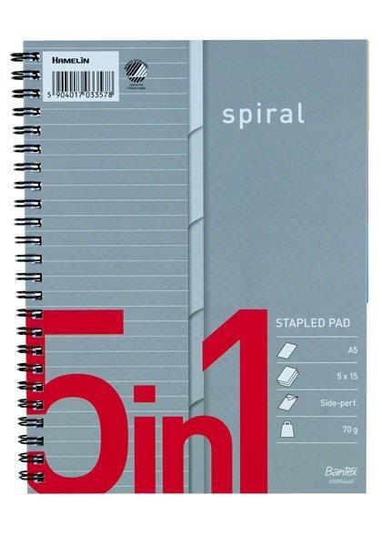 Bantex 5in1 index spiral blok A5+, linjeret