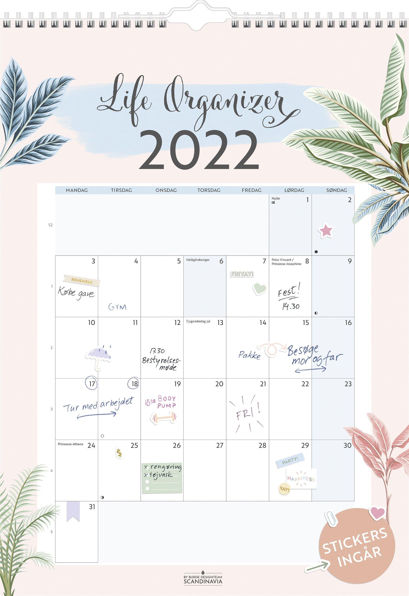 Burde Vægkalender  Life Organizer 2022