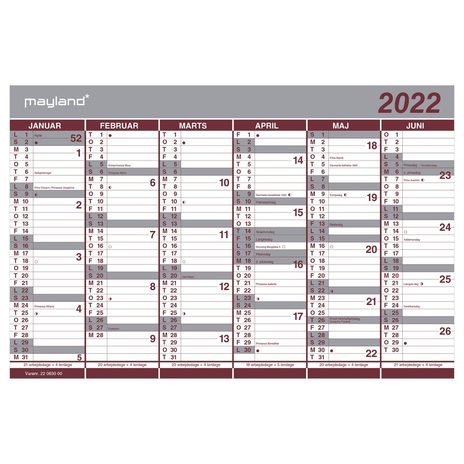Mayland Dobbelt  halvårskalender, 2022